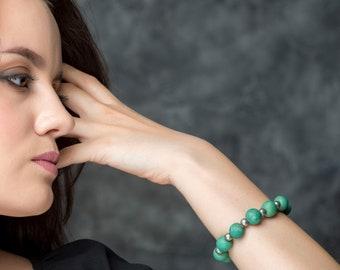 """Ceramic Bracelet  """"Gavial"""" Green Bracelet,Statement Bracelet , Statement Jewelry, Porcelain Jewelry, Beaded Bracelet, 100 % Handmade"""