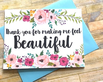 Wedding Card for Stylist Cosmetologist Hair and Makeup Artist - Thank You for making me feel Beautiful Wedding Card - Wedding Day Tip Card
