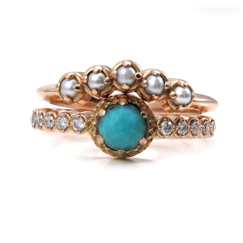 Seed Pearl Turquoise and Diamond Engagement Ring Set Modern