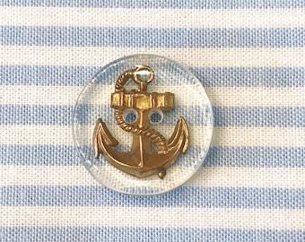 Jim Button Resin/metal button Anchor Gold