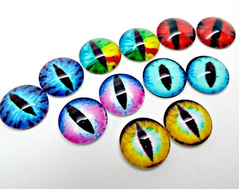 15mm Glass Eyes, 12 Eye Cabochons, Dragon Eyes Cabs, Photo Cabochons, Monster Eyes, Glass Cabochons, Mixed Colors, Craft Supplies, UK Seller