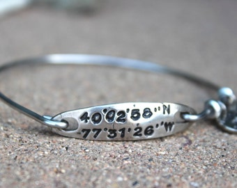 Coordinates Bangle Bracelet, Coordinates Silver Bracelet, Latitude Longitude Bracelet, Coordinates Charm Bangle Bracelets, Location Bangle