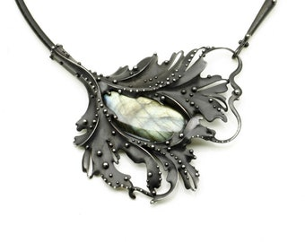 NEFI- Labradorite Mixed Metal Scrolling Leaf Necklace on Leather Cord