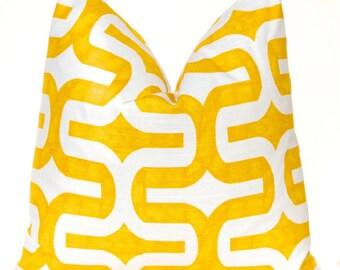 Yellow Euro Sham Decorative Throw Pillows Yellow Pillow Cover Throw Pillow Cushion Covers 24 x 24 Inches - Yellow and White Geometric Design