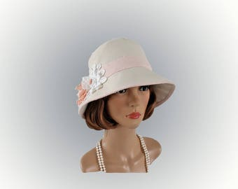 Cute cloche hat in natural cotton twill and peach trims, 1920s cloche hat, flapper hat, Downton Abbey hat, 20s tea hat, Great Gatsby hat