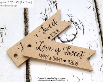 love is sweet flag tags, set of 50, personalized with your names, custom wedding tag, wedding favors, pennant tag, kraft tag  (T-99)
