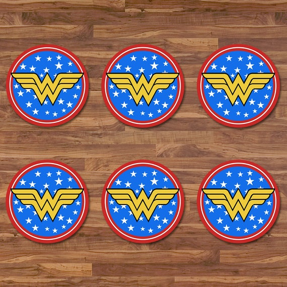 Wonder Woman Cupcake Toppers Wonder Woman Stickers Blue Red