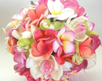 The Cassie Beach Wedding Bouquet in Pink, Coral, Coconut and Lime/ Style #100