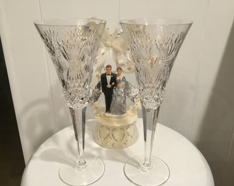 Waterford Crystal Toasting Flutes ~ Prosperity Cut Champagne Glasses ~ Wedding Glasses ~ 16oz. Wine Glass ~ Toasting Glasses