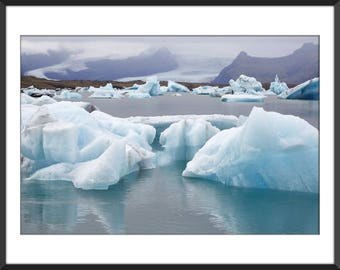 Glacier Lagoon - Iceberg - Blue Ice - Land of Fire and Ice - Iceland - Jökulsárlón - Color Photo Print - Fine Art Photography (IC15)