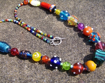 Multi Coloured Necklace. Beaded Necklace. Bright Coloured Necklace. Lampwork bead Necklace. Boho Necklace. Chunky Necklace. Glass Necklace.