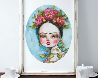FRIDA IN NATURE - Watercolor painting poster of Danita's original art. Mexican artist Frida has flowers and sprouts posing as mother nature