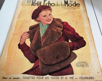Vintage 23rd OCTOBER 1938  French Fashion Magazine called  Le Petit Echo de la Mode Fab prints of Hats and Fashion