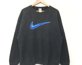 Vintage 90's NIKE Big Logo Swoosh Sportwear Activewear Sweatshirt Pullover  Jumper Black Colour