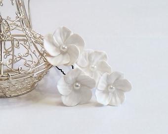White Flowers hair Pin set - Small Hair Flowers, Wedding Hair Flowers, Bridal Hair Pins, Wedding, White Bridal Hair Flowers
