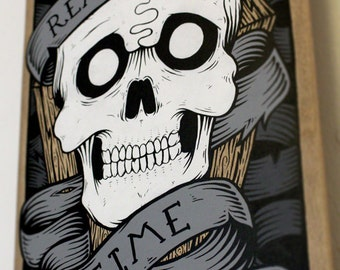 Time Waits for No Man - Hand Painted Skateboard Calavera Wall Art with Tattoo Style Skull, Scroll & Quote Design