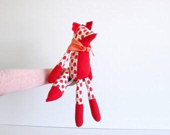 Fox toy stuffed animal with tulips pattern - Stuffed fox plush - Handmade kids toy - Modern nursery decor- Soft toy