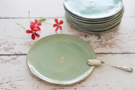 & Cake plate Set of 6 turquoise ceramic plates dessert modern