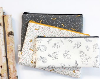 Woodland Animals Zipper Pouch, Pencil Pouch, Pencil Case, Fox, Forest, Back To School,  School Supply, Gift For Her, Organize, Make Up Bag