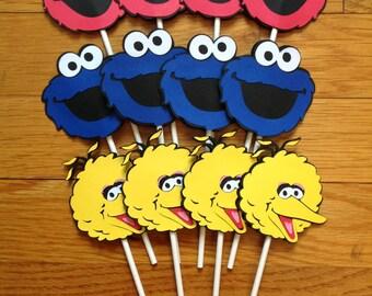 12 Sesame Street Elmo Cookie Monster & Big Bird Birthday CUSTOM Cupcake Toppers