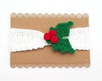 Holly Baby Headband - Holly Headband - Christmas Baby Headband - Christmas Newborn Headband - Baby's 1st Christmas Gift - Holly Newborn Gift