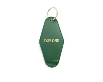 Explore Keychain Dark Green with Gold Text Hot Foil Imprinting - Hot Foil - Gift Idea Vintage Hotel Key Tag Motel Key Chain