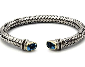 Sterling Silver 925 Cuff Bangle Bracelet with 14 K Gold and Blue topaz stone, unique mixed metals jewelry, gemstone blue color, birthstone