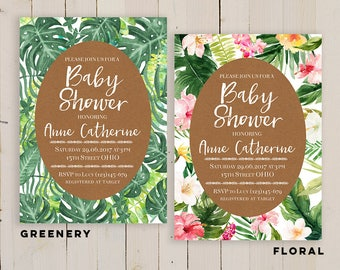 Tropical Baby Shower Invitation, tropical leaf invitation, palm leaves invitation, Hawaiian Baby Shower Invitations, luau baby shower