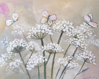 Floral PRINT  of mixed media painting Queen Annes's Lace and Poetry