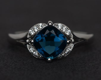 London blue topaz ring engagement ring silver cushion cut wedding rings