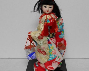 Geisha Girl Doll 1950's or 60's. Asian Doll Wordrobe Vintage Fabric Antique