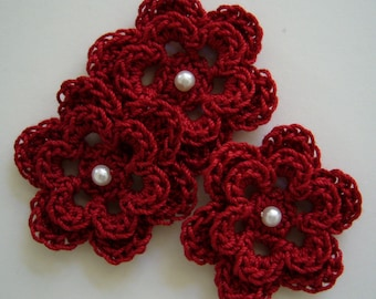 Trio of Crocheted Flowers - Cardinal Red with Pearl - Cotton - Crocheted Flower Appliques - Crocheted Flower Embellishments