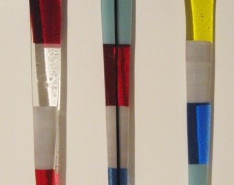 Colorful Bright Fused Glass Garden Stakes
