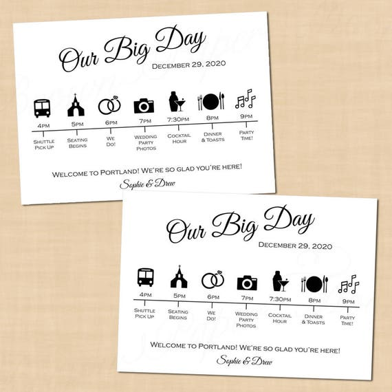 Calligraphy Wedding Itinerary Big Day Guest Timeline Schedule