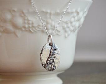 Kansas Necklace, Little Bluestem Necklace, Botanical Necklace, Plant Necklace, Rustic Necklace, Sterling Necklace, Prairie Grass Necklace,