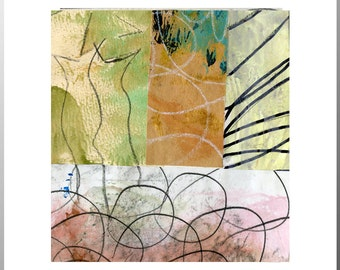 """Avoid Entanglements - Collage with Hand Painted Papers 4 x 4"""" on 5 x 5"""" Backing"""
