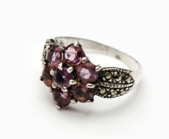 Amethyst Sterling ring  size 7    purple gemstones silver marcasite band ring Victorian Revival