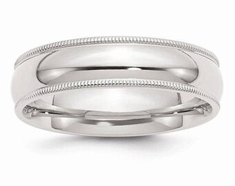 Sterling Silver .925 6mm Comfort Fit Milgrain Men's and Women's Wedding Band Ring Thumb/ Knuckle/ Toe Rings Sizes 4-14 U.S made.