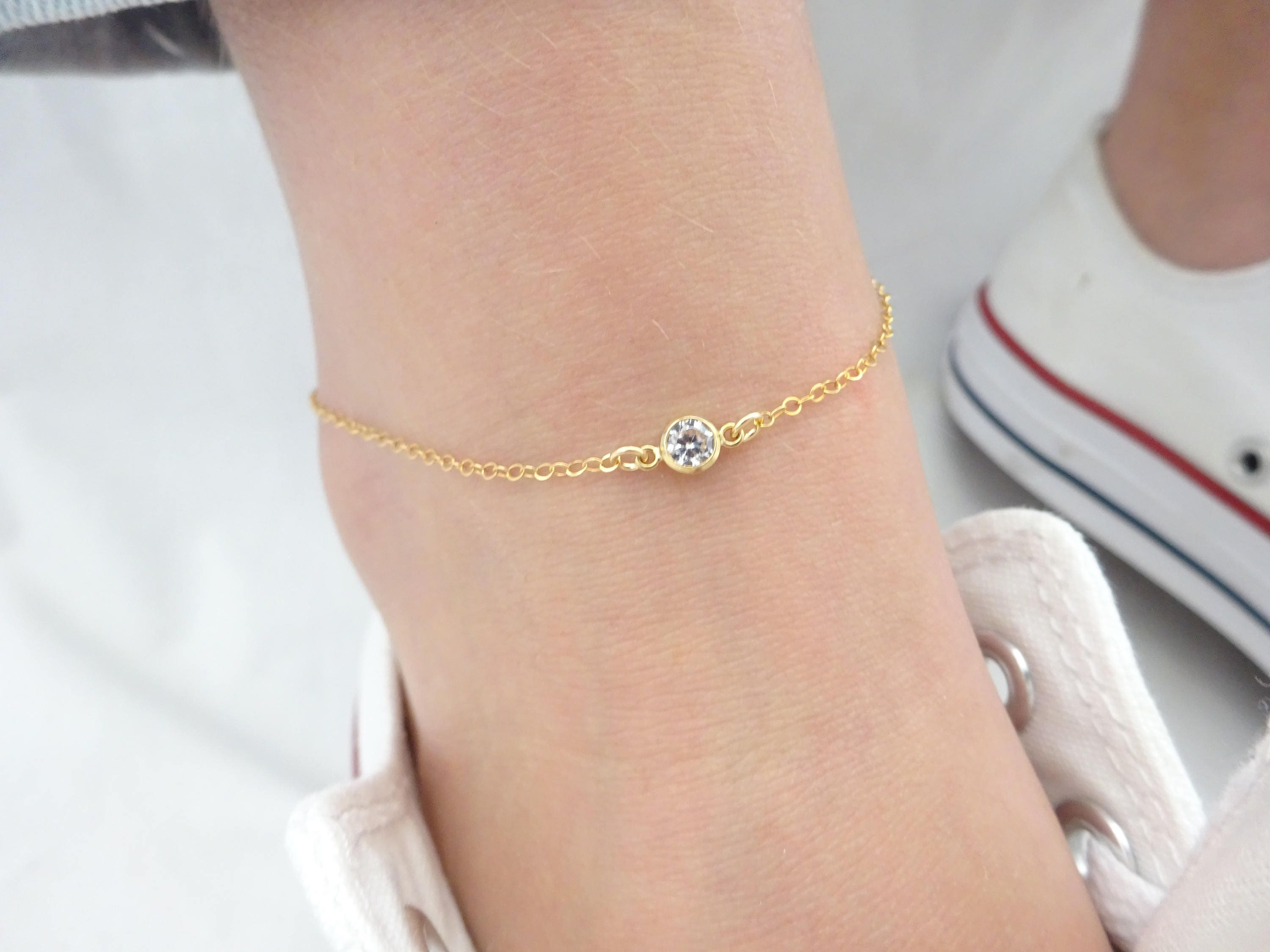 row with pin steel gold zirconia stainless want cubic tow anklet bracelet color to dangling