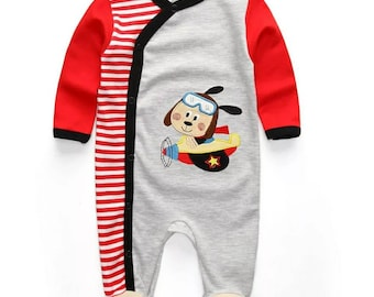 Baby Rompers  Sleeper sleepwear One Pieces Long Sleeve Jumpsuits dog plane