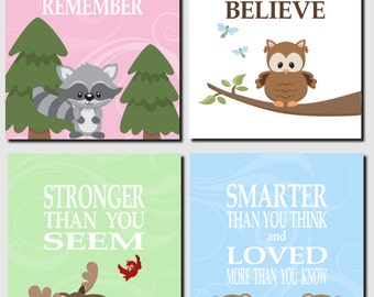 Woodland Nursery Wall Art, Girl Nursery, Woodland Animals, Promise Me You'll Always Remember, Forest Animals, Set of 4, Prints or Canvas