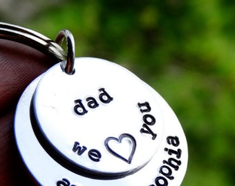 Father's Day Dad Keychain - Gift ideas for Dad - Gift from Daughter - Kids Names Dad Present - Personalized gift for Daddy - Father Daughter