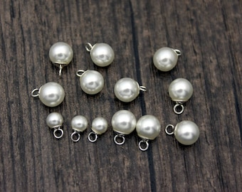 4MM 6MM 8MM 10MM Shell Pearl Charm,Pearl Charm Pendant with Sterling Silver Caps ,Add On Charm