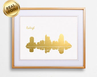 Raleigh City Skyline Gold Print, Real Gold Foil Print, Raleigh City Poster, Raleigh Wall Art, Raleigh City Print, Raleigh Gift, GoldenGraphy