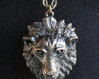 Vintage Lion Head Necklace Pendant Long Chain