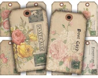 Floral Postcard Tags Digital Collage Sheet Download - 201 - Digital Paper - Instant Download Printables