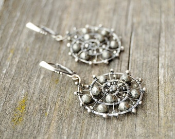 Pyrite spiral earrings, Wire wrapped spiral earrings, Sterling silver Pyrite earrings, OOAK earrings