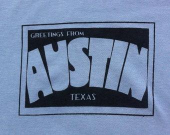 SALE! Austin Vintage Postcard -- Men's T-shirt -- Slate Grey Fine Jersey -- American Apparel -- Truckpatch Designs