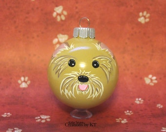 Yorkie Dog Ornament MADE TO ORDER Christmas Yorkshire Terrier Glass Bauble Dog Hand Painted Pet Gift Pet Portrait Dog Mom Pet Memorial