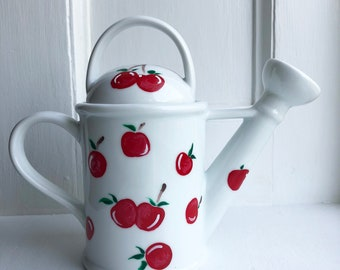 Cherry 'Watering Can' Teapot - Hand Painted Teapot (Functional) - 18 oz - Gifts for the Cherry Lover!